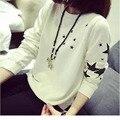 Мода звезды печать футболка горячая распродажа новый 2015 осень зима свободного покроя женщин полный рукав о-образным вырезом кофты Onesize FB040