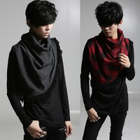 Autumn Winter Stylish Mens high neck t shirt with tassel Long sleeve Black Red