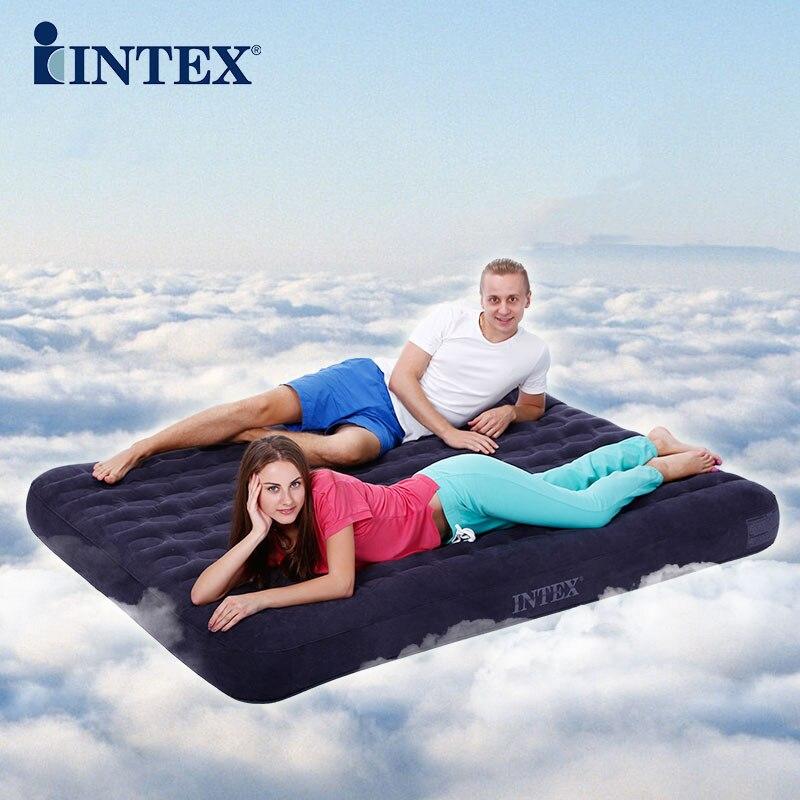 Intex lit gonflable 2 personnes épaississement nid d'abeille colonnes air lit ménages lit en plein air avec pompe à main et la terre pad
