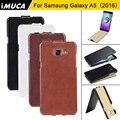 Marca imuca casos de telefone de luxo para samsung galaxy a5 2016 Vertical Flip capa de Couro A5 A510F A510M Abranger Os Casos com retail saco