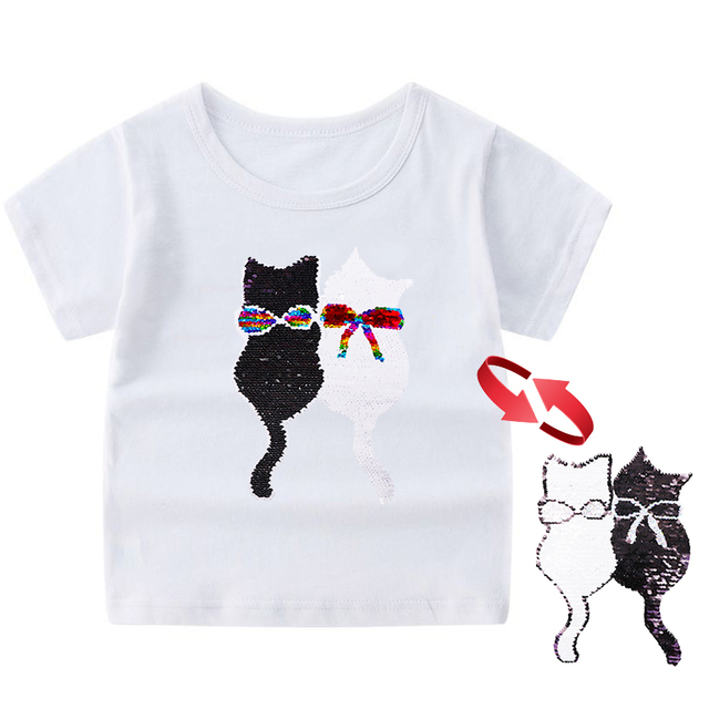 Glitter T Shirt With Sequins Double Sided Reversible Sequin Kids Girls Boys T Shirt Cool Tee Top Kids Color Changing Tshirt T Shirts Aliexpress