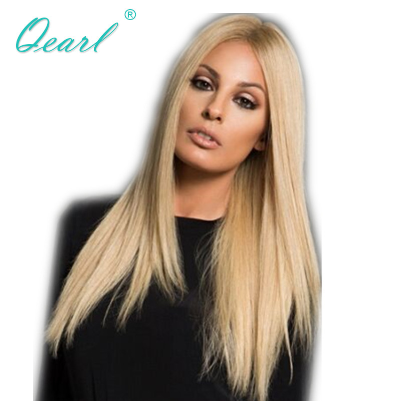 Qearl Blonde Ombre Color Lace Front Wigs Straight Middle Part Human Remy Hair Wig Front  ...