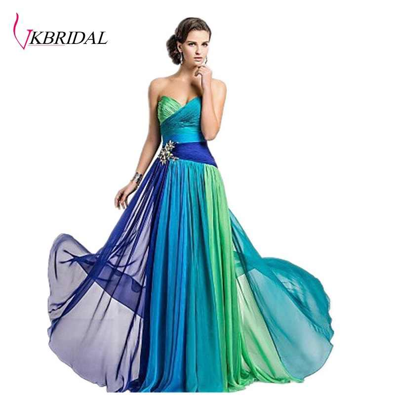 b22c9ab2b1b Detail Feedback Questions about VKBRIDAL vestido de festa Chiffon Peacock  Long Bridesmaid Dresses Blue Female Saree Lace Up With Stones Floor Length  Party ...