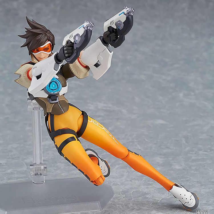 New Figma 352 Jogo OW Caráter Tracer 14 cm BJD Brinquedos Action Figure Modelo Presente de Aniversário