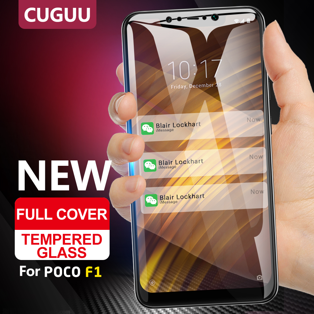 For Xiaomi Pocophone F1 Tempered Glass Film For Pocophone F1 Screen Protector Full Cover Protective Glass For Xiaomi Poco F1