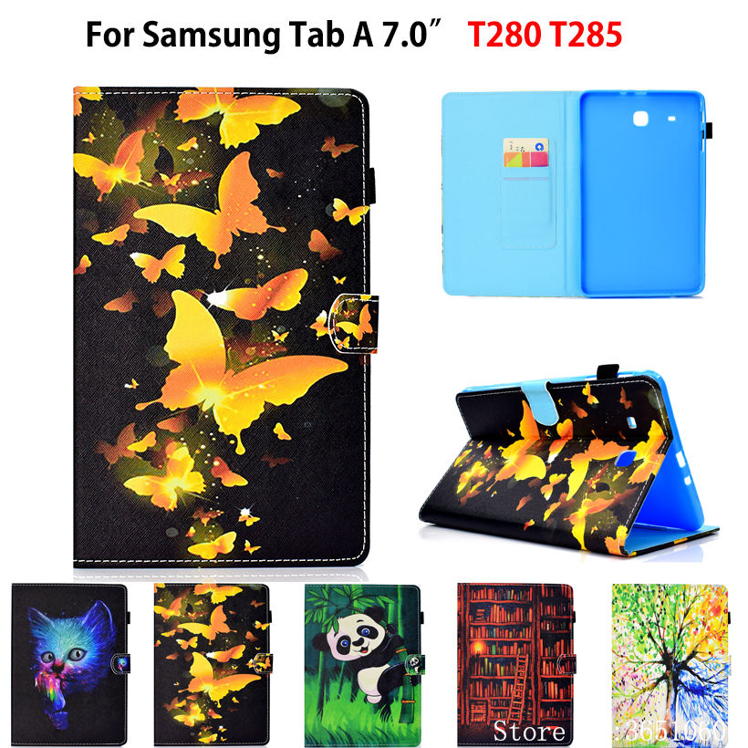 Fashion Painted Case For Samsung Galaxy Tab A A6 7.0 2016 T280 SM-T280 SM-T285 Cover Funda Tablet Silicone PU Leather Stand Capa