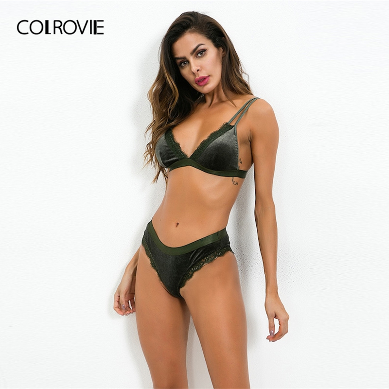 COLROVIE Green Solid Lace Trim Sexy Intimates Women Lingerie   Set   2019 Spring Fashion Wireless Transparent Underwear   Bra     Set