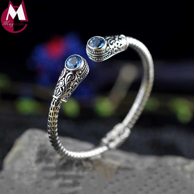 NEW Luxury Indonesia Style Handmade Jewelry Real Silver 925 Sterling Bracelet For Women Natural Topaz Purple