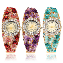 Women's Flower Butterfly Dress Watch Round Dial Rhinestone Bracelet Wristwatch C2K5W