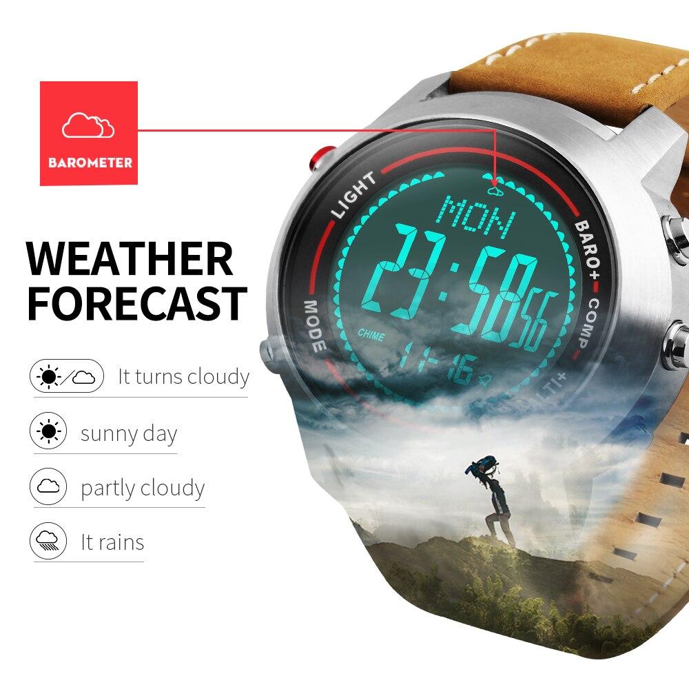 Спортивные часы Для мужчин открытый светодиодный цифровой наручные часы-Хронограф компас барометр Водонепроницаемый кожи часы мужской ...