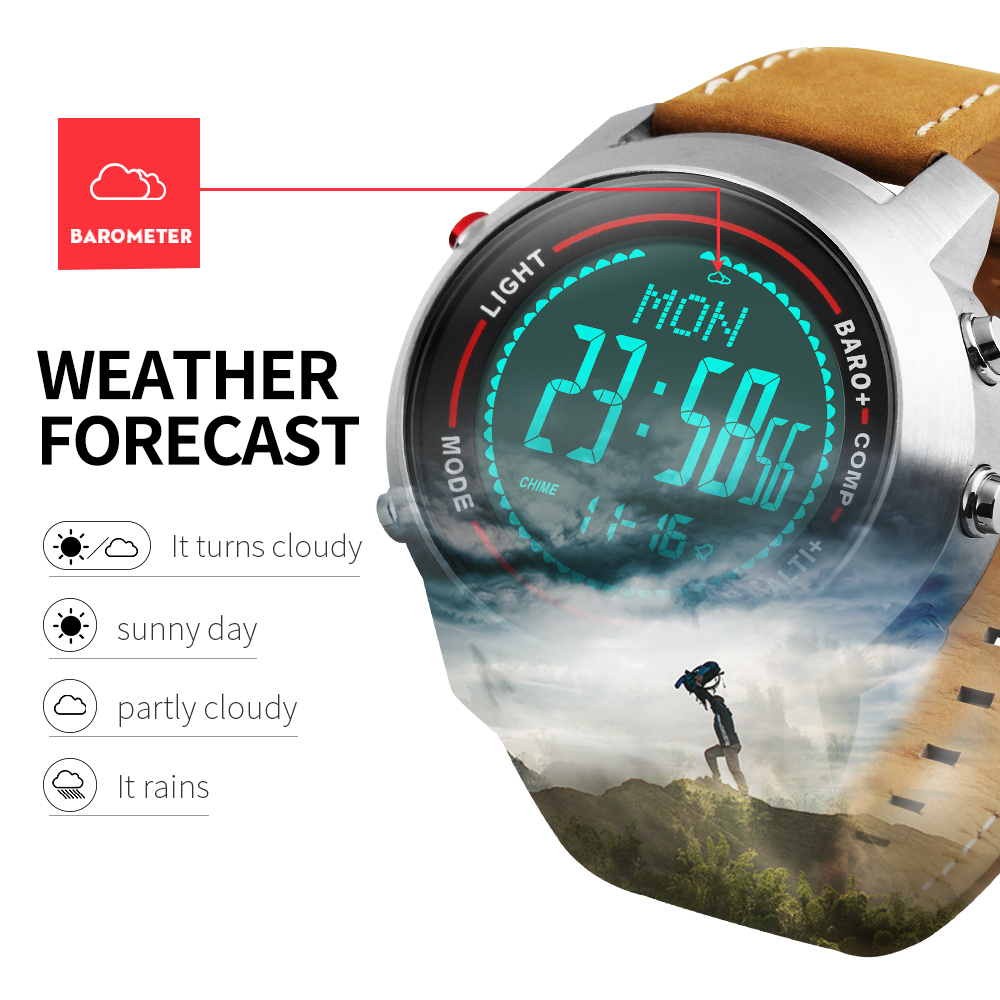 Sports Watches Men Outdoor LED Digital Wrist Watch Chronograph Compass Barometer Waterproof Leather Clock Male Relogio MasculinoSports Watches Men Outdoor LED Digital Wrist Watch Chronograph Compass Barometer Waterproof Leather Clock Male Relogio Masculino