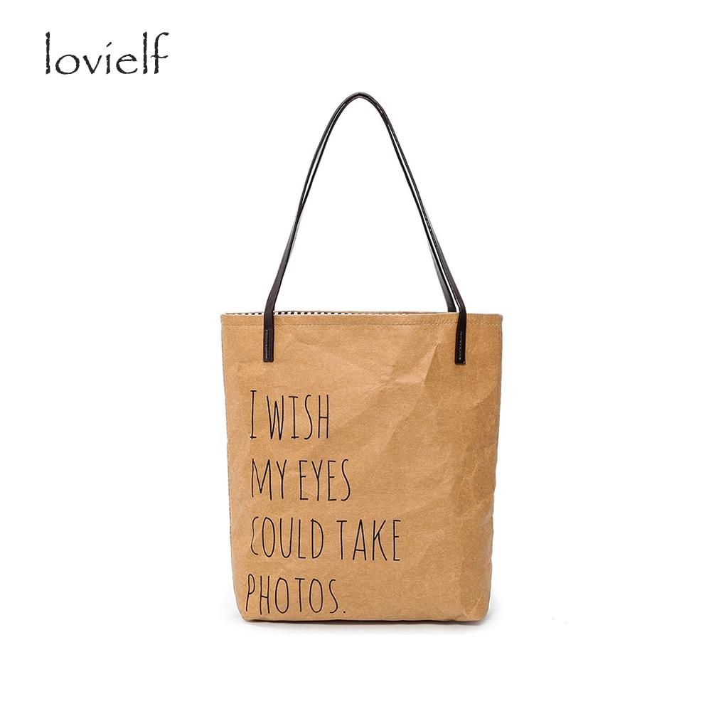 lovielf HOT Women Handbags Kraft Paper Bolsas I WISH MY EYE COULD TAKE PHOTO Fashion Shoulder Bags Shopping Tote Bag sac a main