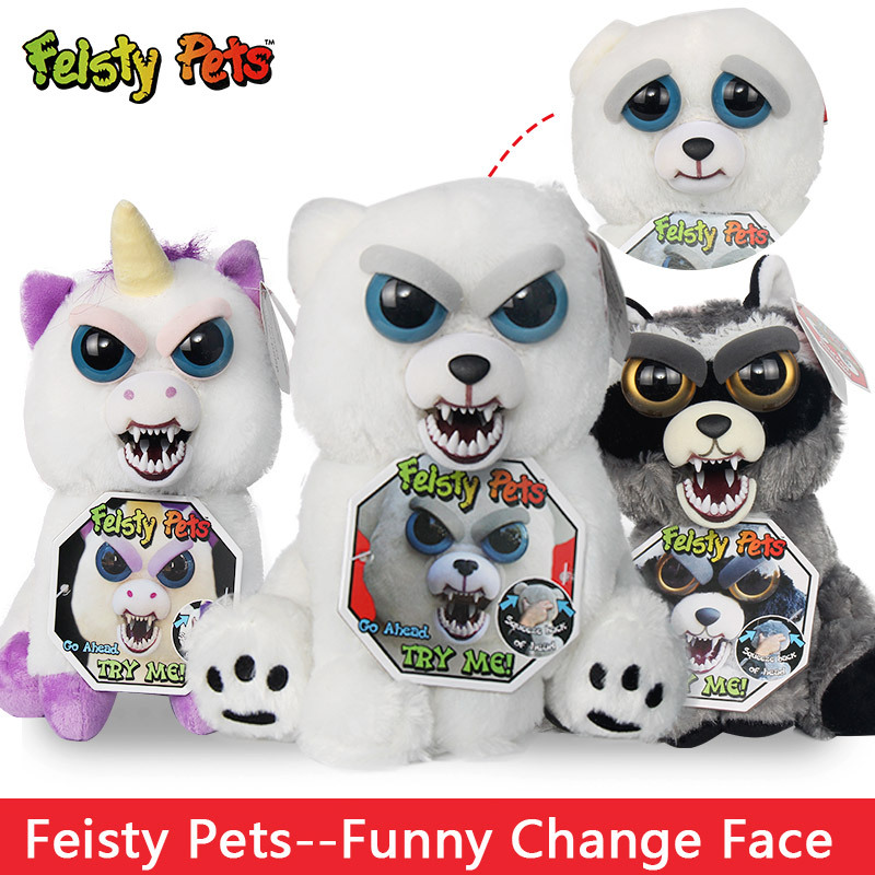 все цены на 12-20cm Feisty Pets Funny Change Face Reindeer Snow Leopard Penguin &Raccoon Cat Stuffed Animal Plush Doll For kid Baby Toy Gift онлайн