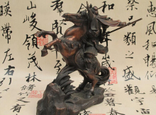 China Folk Red Bronze Dragon Guan Gong holding knife Ride Horse Warrior Statue Copper garden decoration