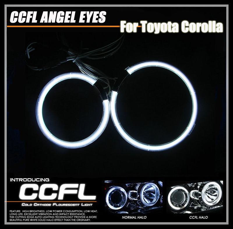 Free Shipping CCFL Car Angel eyes Light for TOYOTA COROLLA 01 04 Headlight CCFL Angel Eyes Halo Rings Kit CCFL Auto Lamp