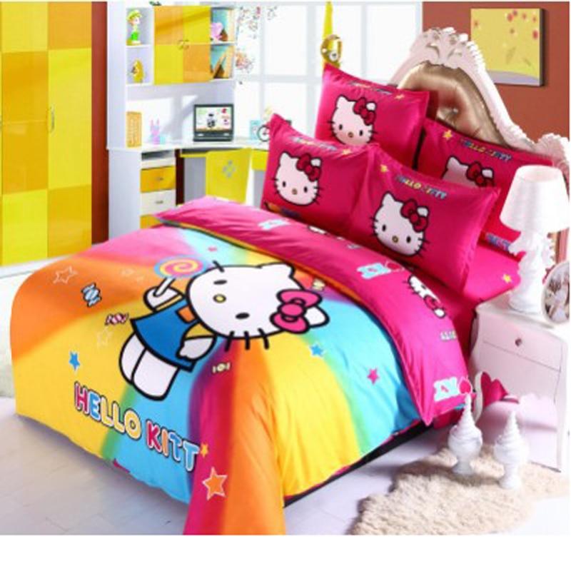 Cartoon Children Students Colorful Hello Kitty Bedding ...