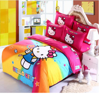 Cartoon Children Students Colorful Hello Kitty Bedding Sets Twin Full Queen Size Bedsheet Sets for Girls