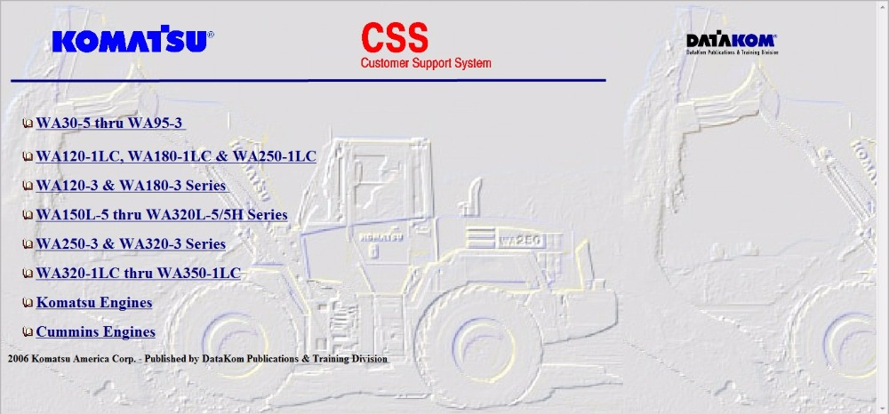Komatsu CSS FULL SET SERVICE MANUALS WIRING DIAGRAMS aliexpress com buy komatsu css full set service manuals, wiring komatsu wa320 wiring diagram at virtualis.co
