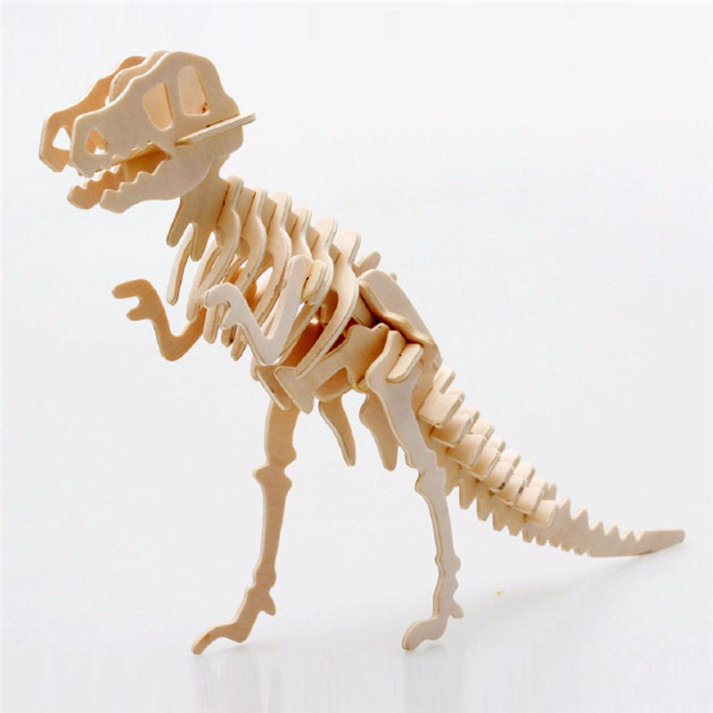 Wooden 3D Puzzle Toy Kids Baby Toys Wood Triceratops