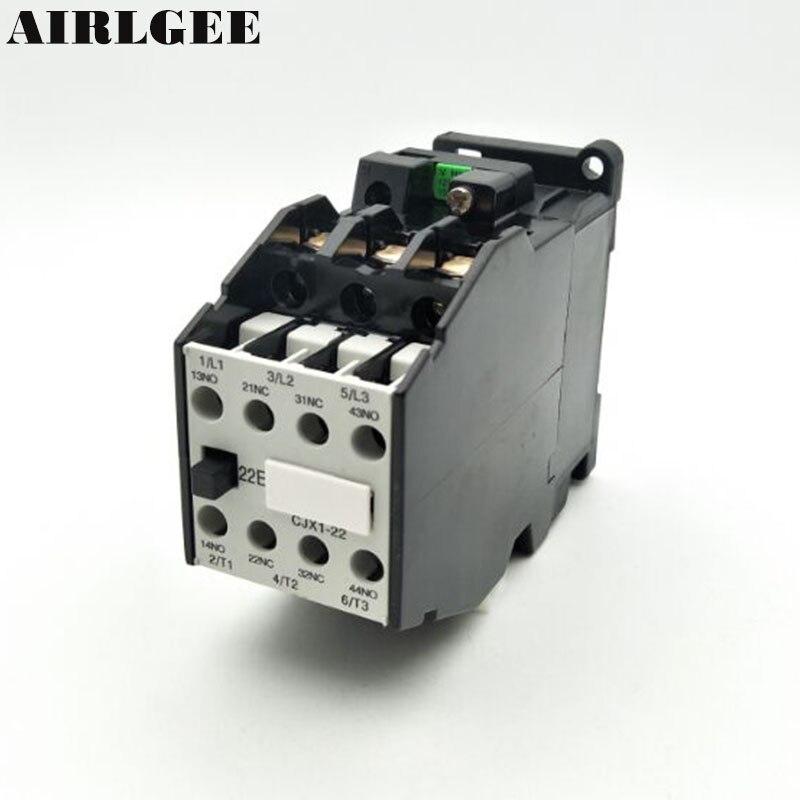 CJX1-22(3TB43) 3-Phase 3-Pole 2NC+2NO 22A AC Contactor 24 36 110 220,380V Coil Voltage