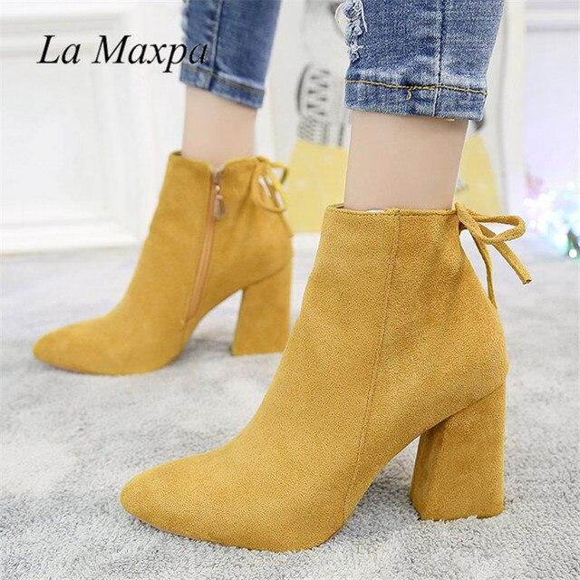 2019 kadın orta buzağı Boots sarı renk sivri burun fermuarlar sonbahar bahar kadın Martin çizmeler rahat dantel-up çizmeler boyutu 35-39