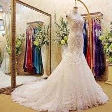 Western Style Fishtail High Neck Crystal Beaded Corset Back Court Train Luxury Bridal Wedding Gown With Appliques LW018