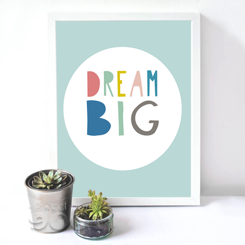 Wall Decor Nursery Nz : Aliexpress buy cartoon dream big quote canvas art