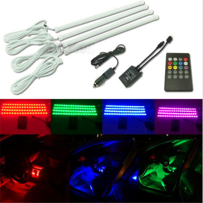 4X 30cm LED strip Car styling Air atmosphere interior Car light RGB 8 color Ambient Infrared remote Wireless Music control 4x 7 color wireless bright car wheel decoration led lights solar energy flash tire rim wheel lamp light with remote control rgb