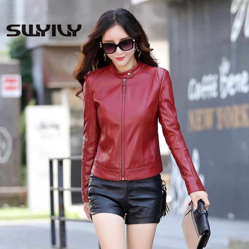 SWYIVY PU   Leather   Jacket Women High Quality Short Desgin 2019 Spring New Female Fashion Solid Coats Motorcycle Woman Jackets 3XL
