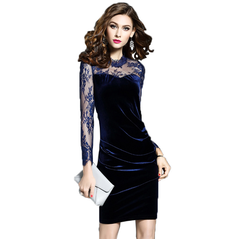 Printemps femmes robe 2019 nouveau maille couture col rond dames robe à manches longues taille or velours Sexy femmes robes Lj318