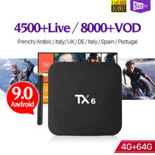 IPTV France Italy Arabic Android 9.0 TX6 4+64G BT5.0 USB3.0 Dual-Band WIFI 1 Year IP TV Subscription SUBTV Box