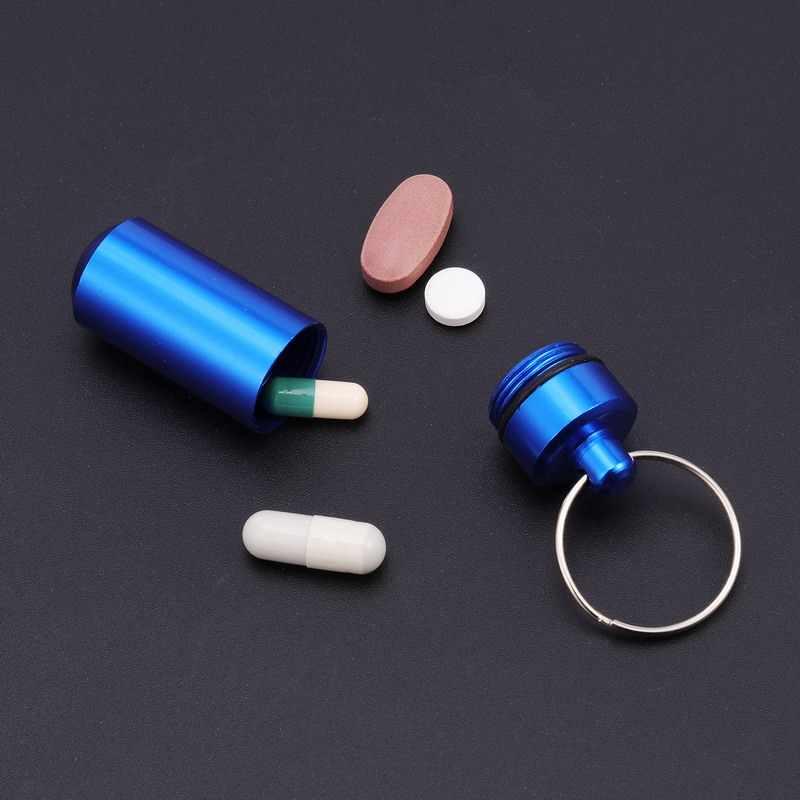 BearPaw 新高品質ピルボックスポータブル防水ミニアルミキーホルダー薬瓶収納ケース医学コンテナ