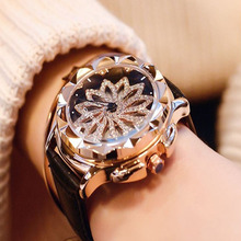 Women Rhinestone Watches Lady Rotation Dress Watch brand Real Leather Band Big Dial Bracelet Wristwatches Austrian Crystal watch