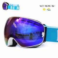 UV400 Anti-buée Double couches lunettes de Ski grand objectif masque de Ski lunettes Ski neige Snowboard lunettes miroir polariser lunettes pour hommes