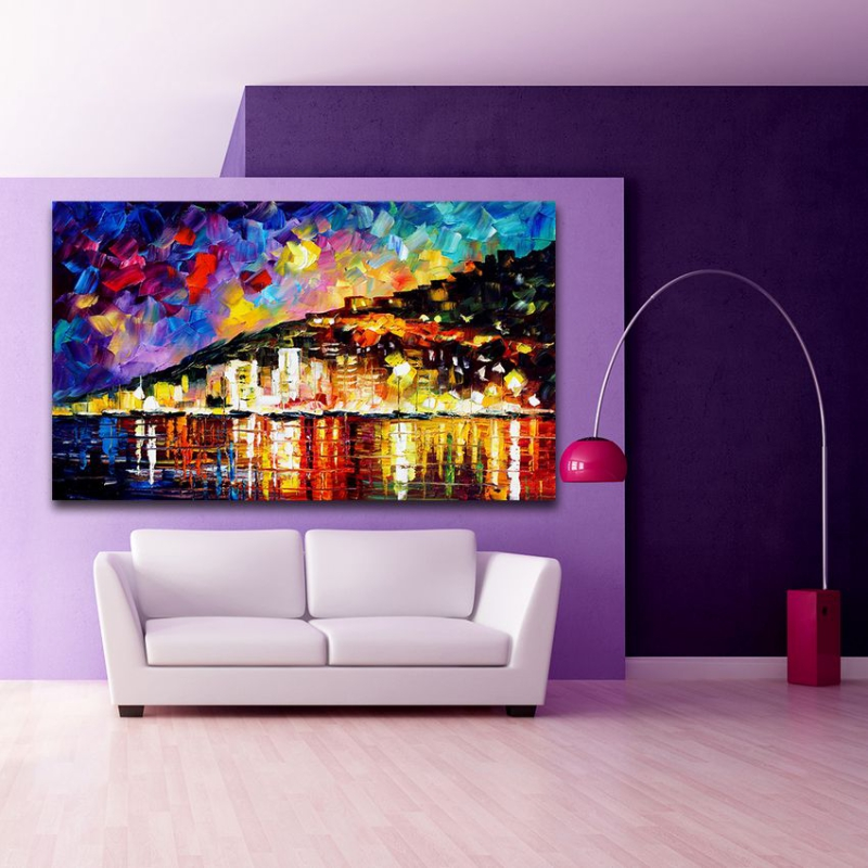 Modern Palette font b Knife b font Mural Art 100 Hand painted Riverside City Canvas Painting