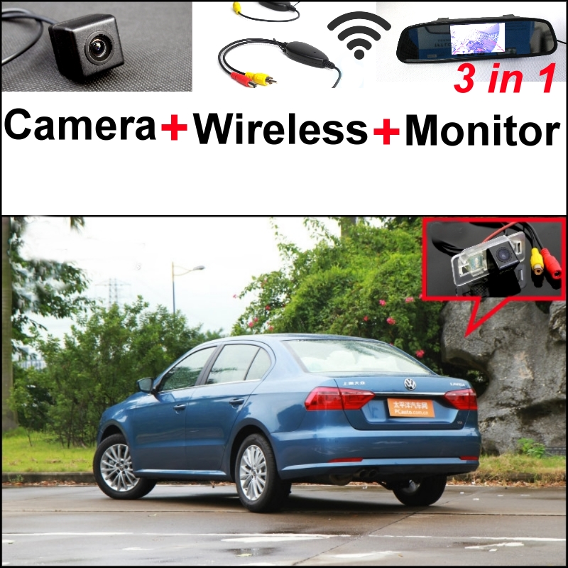 3 in1 Special Camera + Wireless Receiver + Mirror Monitor Easy DIY Back Up Parking System For Volkswagen VW Lavida Grand Lavida wireless pager system 433 92mhz wireless restaurant table buzzer with monitor and watch receiver 3 display 42 call button