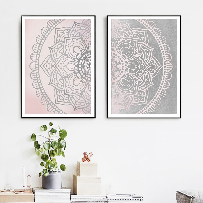 Pink Gray Mandala Vintage Art Canvas Posters Painting Textured Retro Background Wall Pictures Print Home Living Room Decoration