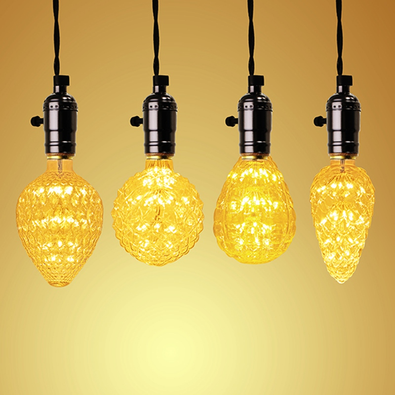 Pineapple/Strawberry/Pine Cones/Balloon LED Light Bulb E27 3W Firework LED Lamp AC85-265V String Lights For home Decoration