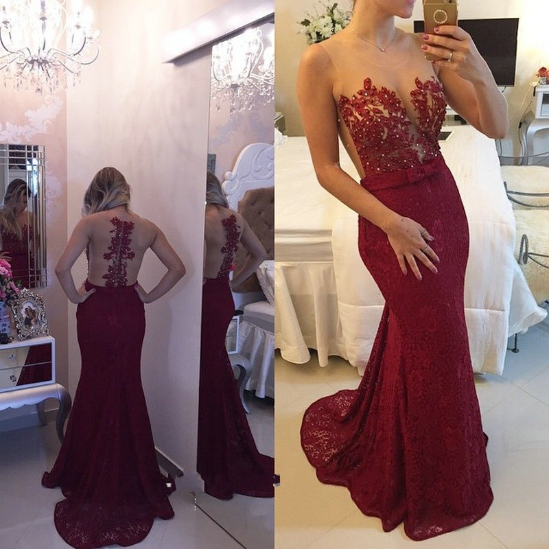 Aliexpress.com : Buy Sexy Dark Red Lace Prom Dresses Sheer ...