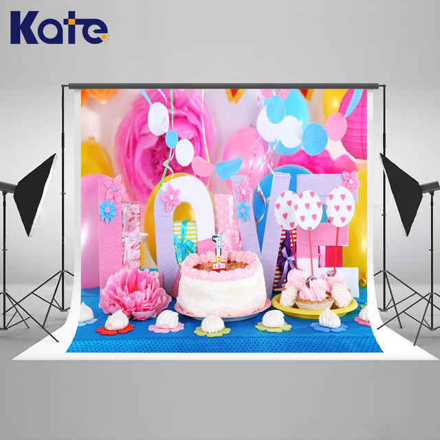 5x7FT Kate Newborn Happy Birthday Background Photography Colorful Cake Flowers Backgrounds Photo Studio Children Backdrops