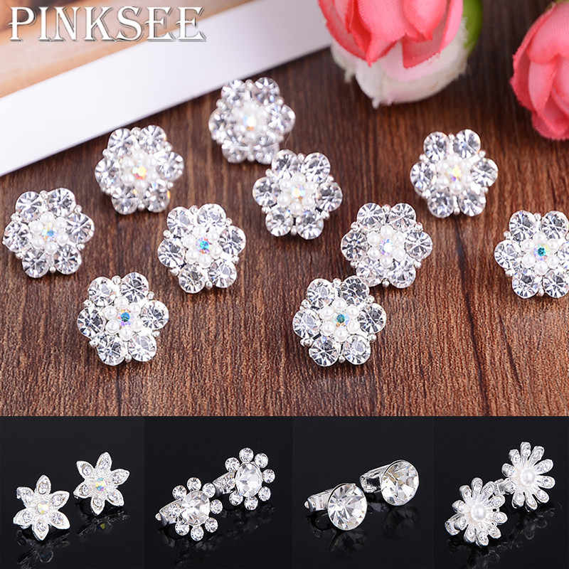 10Pcs Bride Bridal Wedding Hair Accessories Shiny Crystal Flower Rhinestone Hair Buckle Hairpins Headwear Jewelry