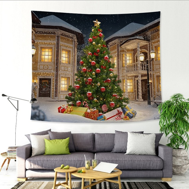 Us 9 85 40 Off Colorful Christmas Tree Tapestries Wall Hanging Tapestry Polyester Fabric Xmas Party Decoration Background Blanket Table Cloth In