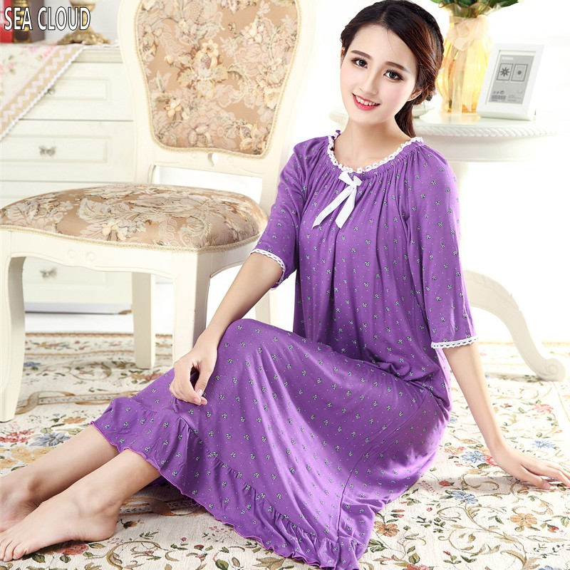 82 Spring autumn plus size 100% cotton modal ultra long nightgown female short-sleeve half sleeve princess sleepwear