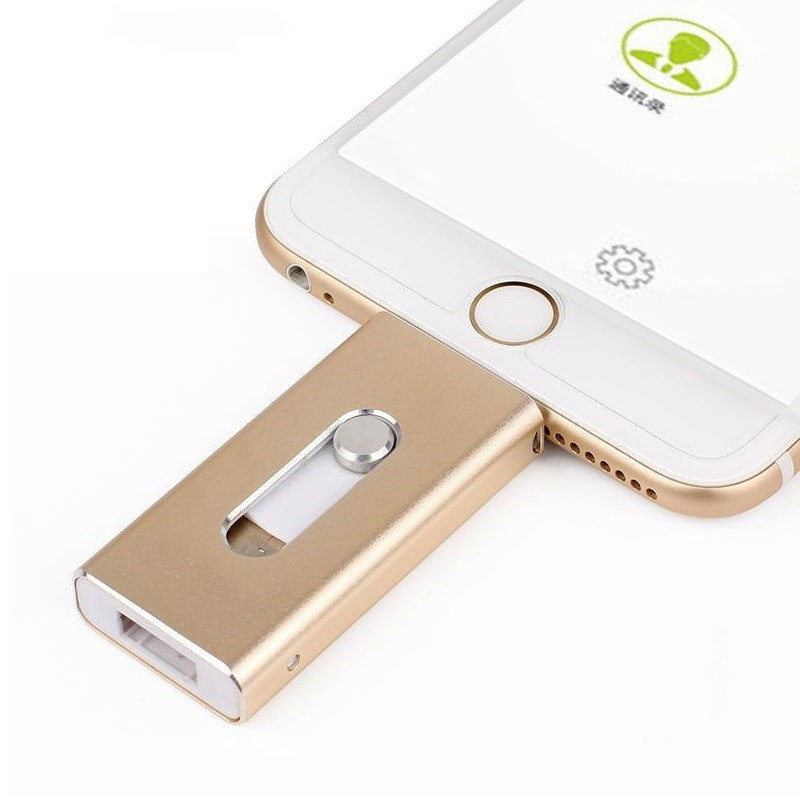 Dropshipping. exclusivo. unidad Flash USB para iPhone X/8/7/7 Plus/6/6 s/ 5 ipad Metal Pen drive HD tarjeta de memoria 8g 16G 32G 64G 128 GFlash conductor