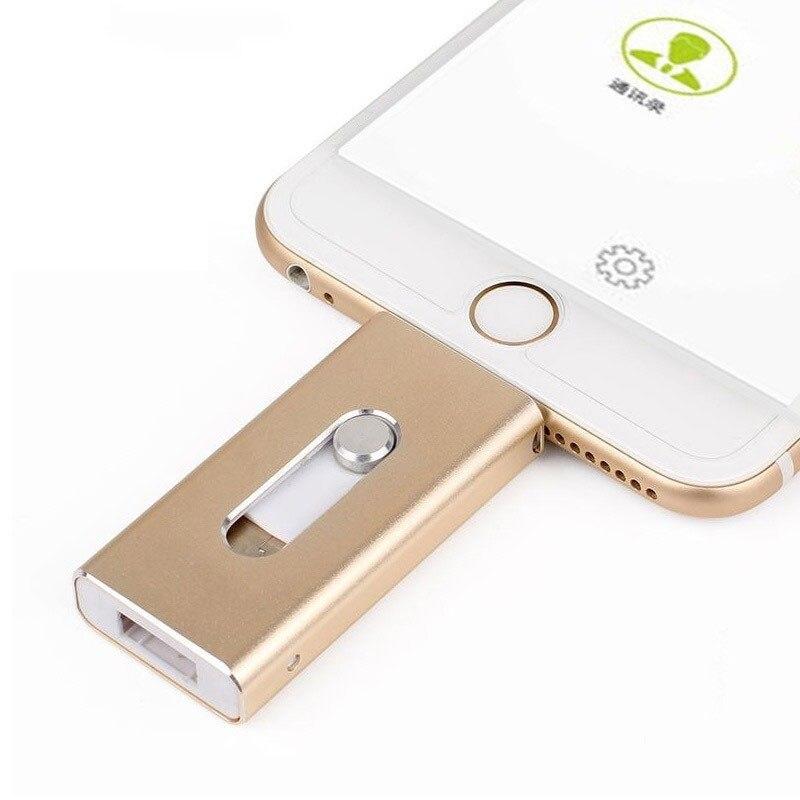 USB Flash Drive For iPhone X/8/7/7 Plus/6/6s/5 ipad Metal Pen drive HD Memory Stick 8G 16G 32G 64G 128GFlash Driver dropshipping