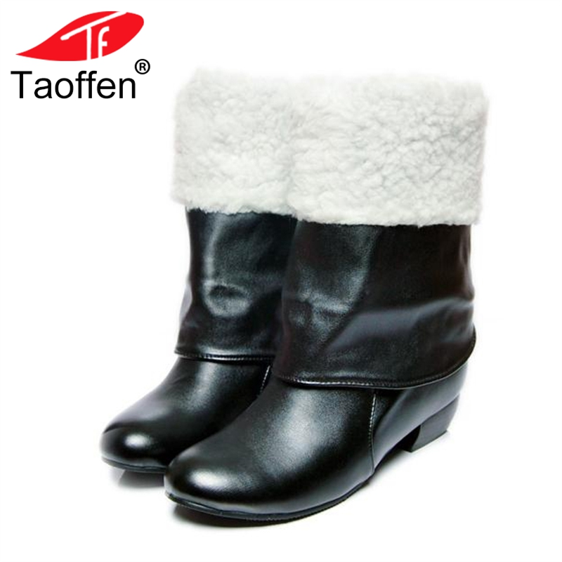 TAOFFEN Plus Size 31-47 Vintage Women Mid Calf Boots Thick Fur Winter Shoes Women Warm High Heels Boots Fashion Lady Shoes