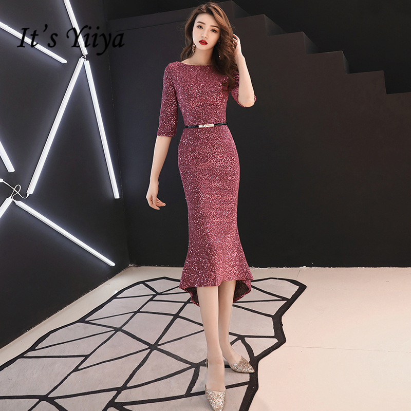 It's YiiYa Evening Dress Royal Wine Red Shining Trumpet Party Gowns O-neck Half-sleeves  Mermaid Formal Dresses E345