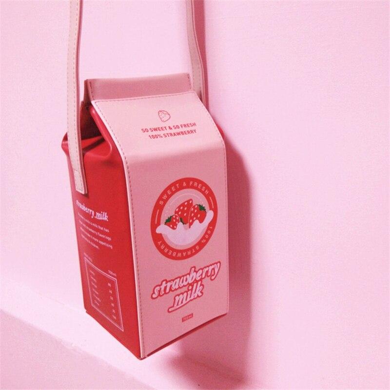 Billtera PU Läder Kvinnor Axelväska Mode Stil Rosa Färg Jordgubb - Handväskor - Foto 3
