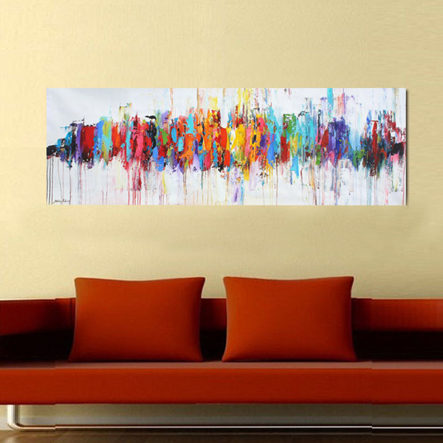 Modern Abstract Oil Paintings On Canvas Turquoise Wall Art Paintings ...