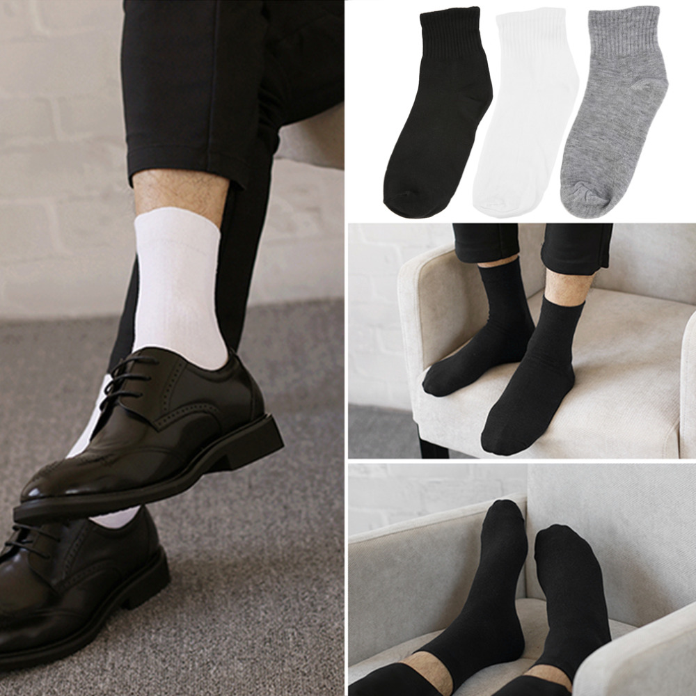 Brand 1 Pair Men' Socks Cut Crew Ankle Soft Cotton Winter Casual Hot-in